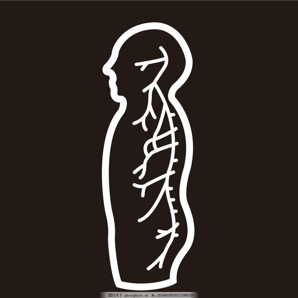 人体 骨架 人骨 结构 插画 简笔画 线条 线描 简画 黑白画 卡通 手绘图片