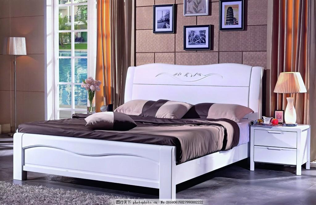 白油家具床 橡木家具 欧式背景家具 白油 白色大床 设计 环境设计