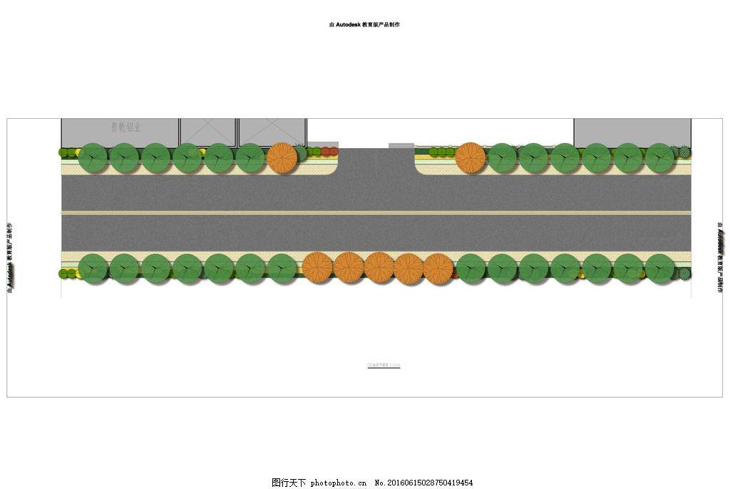 景观工程六标段绿化平面图 道路 手绘标段 道路施工 马路绿化 绿化