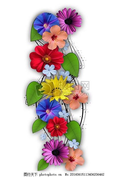 鲜花 拼贴画 组合 夏季 样式 春天 植物 自然 叶子 图形 红色