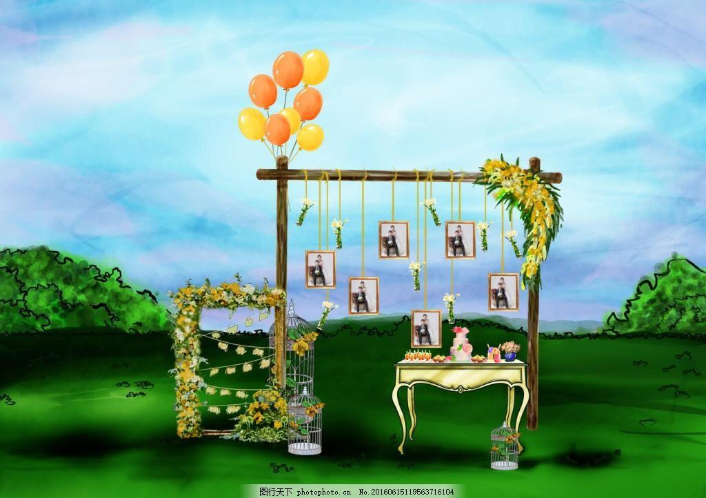 婚礼 原创 户外婚礼 手绘 草坪婚礼 气球 相框 甜品台 花艺 鸟笼子 铁