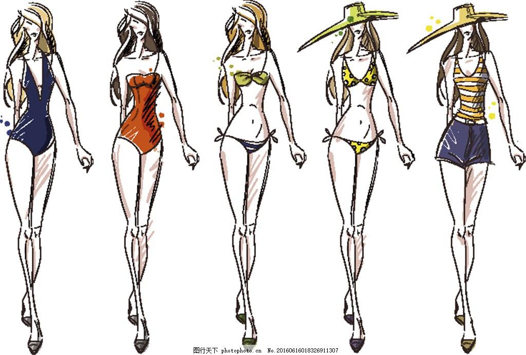 设计图库 动漫卡通 动漫人物  手绘性感美女插画 服装模特 泳装