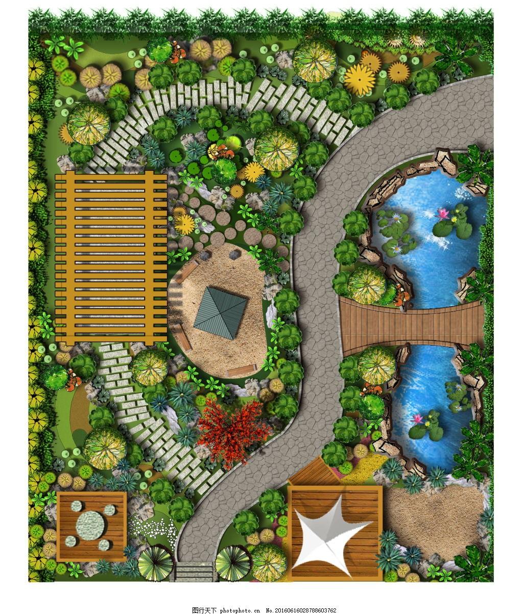 别墅景观平面图 藤架 湖水 亭子 张拉膜 效果图 户型图 植物