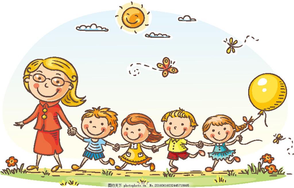 老师牵着的儿童 卡通老师 气球 蝴蝶 卡通男孩 小男生 卡通女生 小