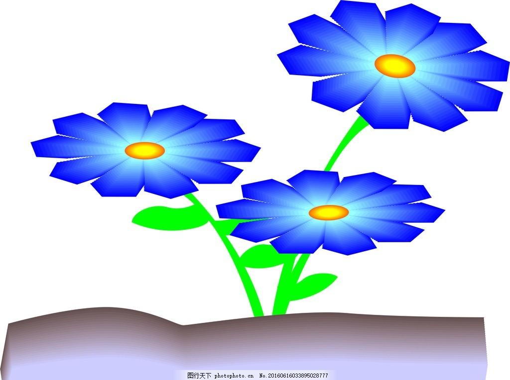 卡通 儿童 蓝色 植物 梦幻 花朵 设计 其他 图片素材 cdr