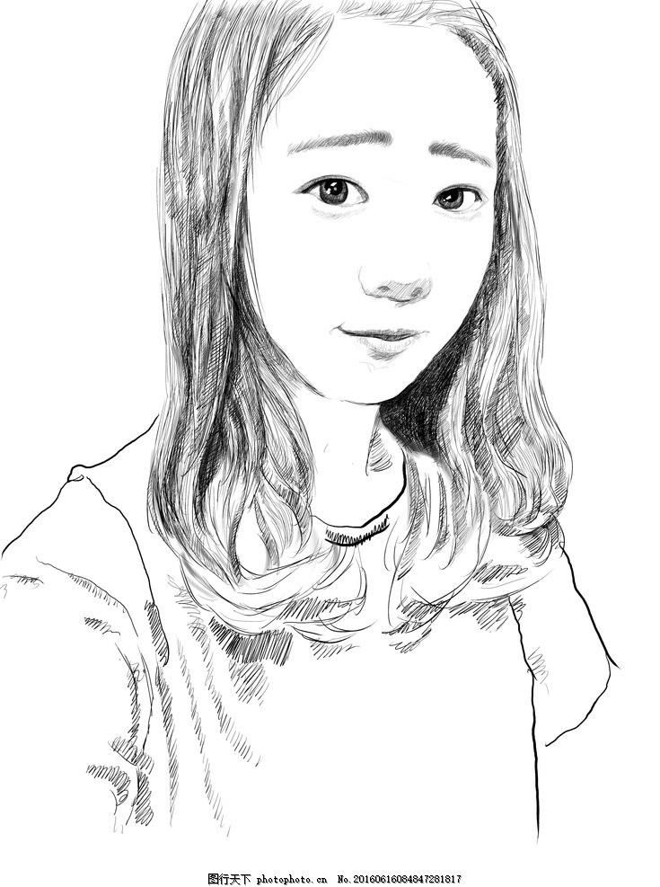 素描人物 素描 鼠绘 手绘 插画 写生 创作 黑白 鼠绘头像 设计 文化