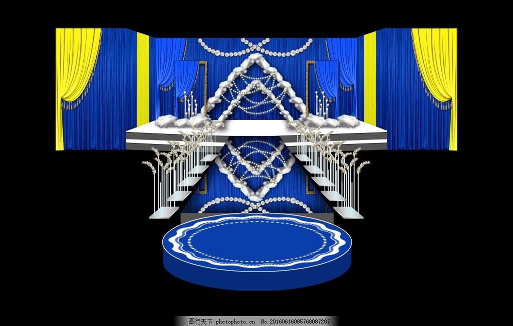 欧式宝蓝婚礼主舞台 欧式婚礼 宝蓝色婚礼 花墙婚礼 婚礼展示区设计 p