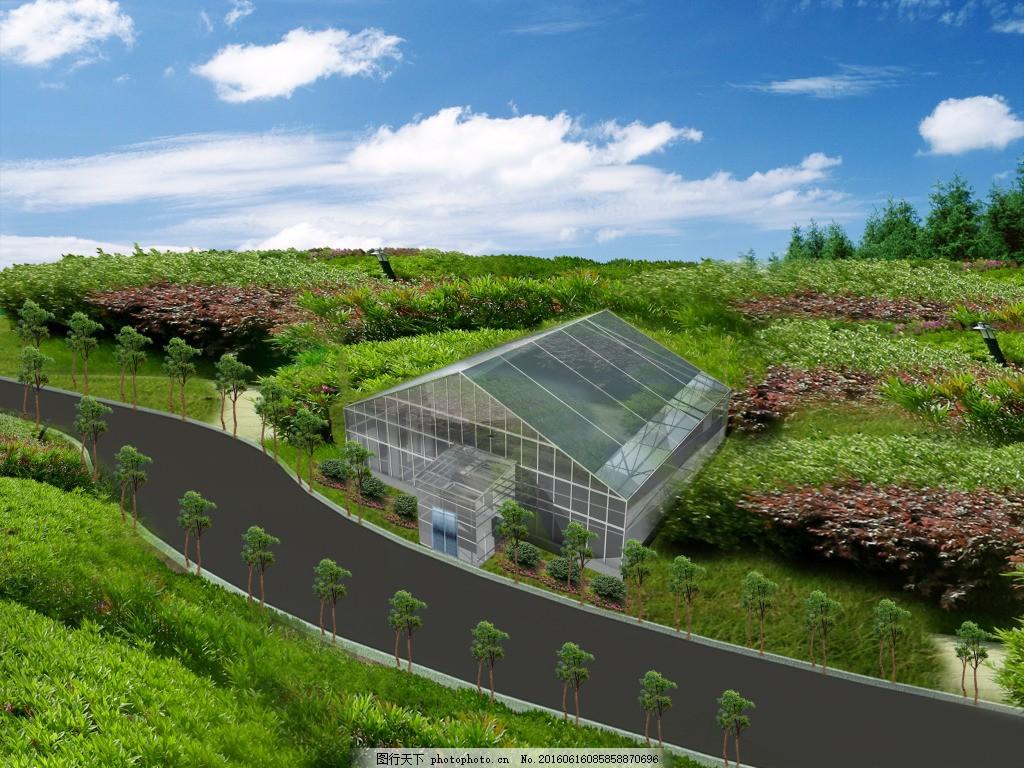 手绘园林平面图 温室
