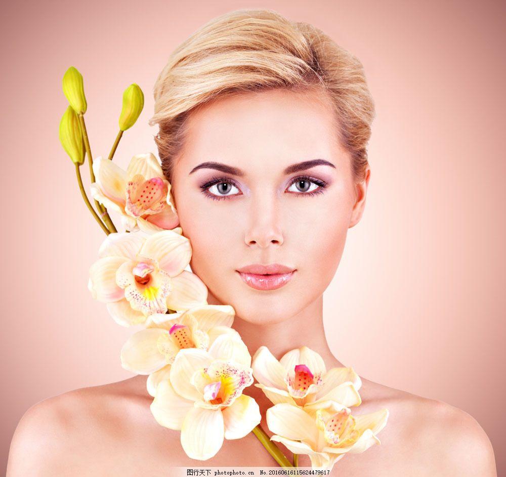 鲜花与美女图片素材 鲜花 面部 化妆 外国人 美女 性感 人物摄影 女人
