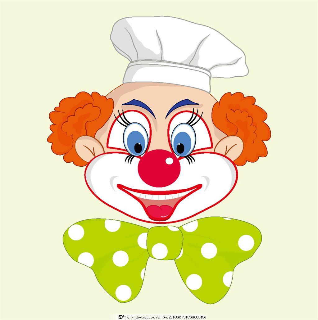 戴着帽子的小丑插画 蝴蝶结 卡通小丑 卡通插画 可爱卡通 卡通插图 日