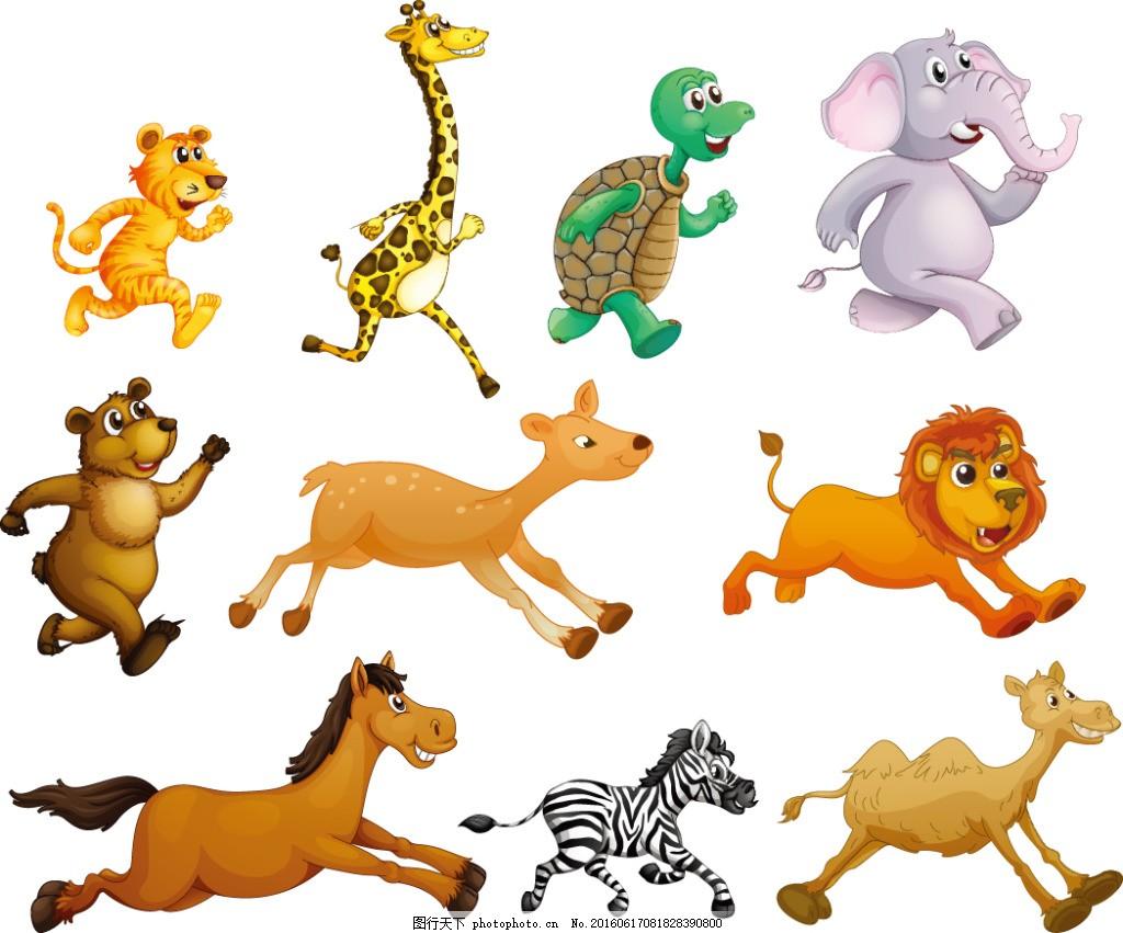 可爱的奔跑动物 插画图案 插画 手绘涂鸦 涂鸦 创意插画 矢量素材