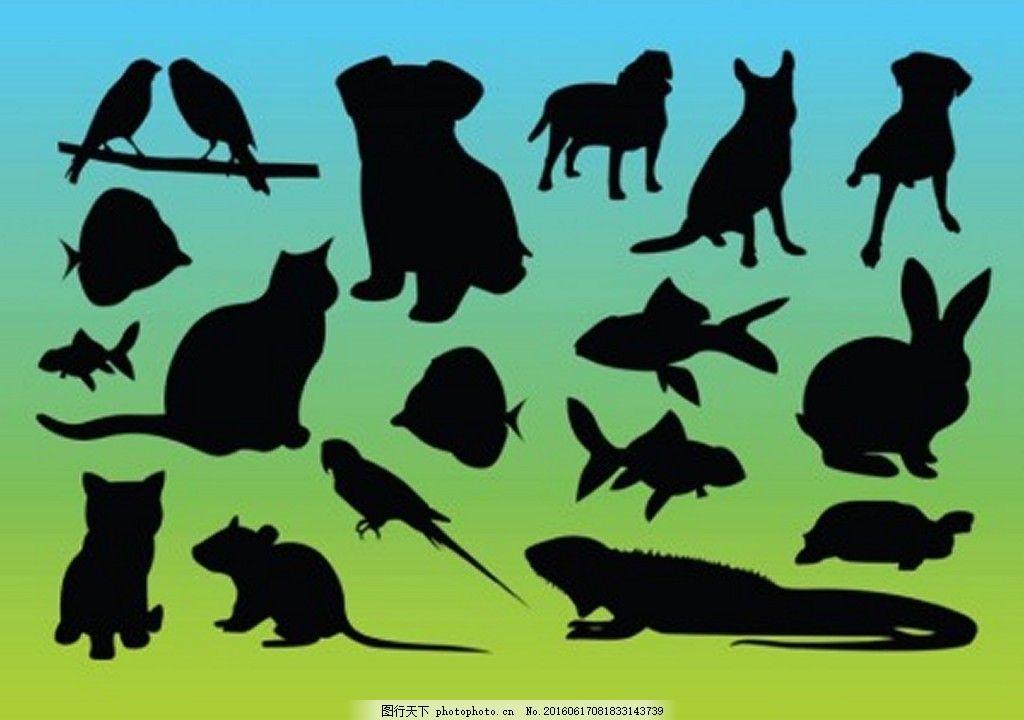 动物剪影 影子 老鼠 猫狗 兔子