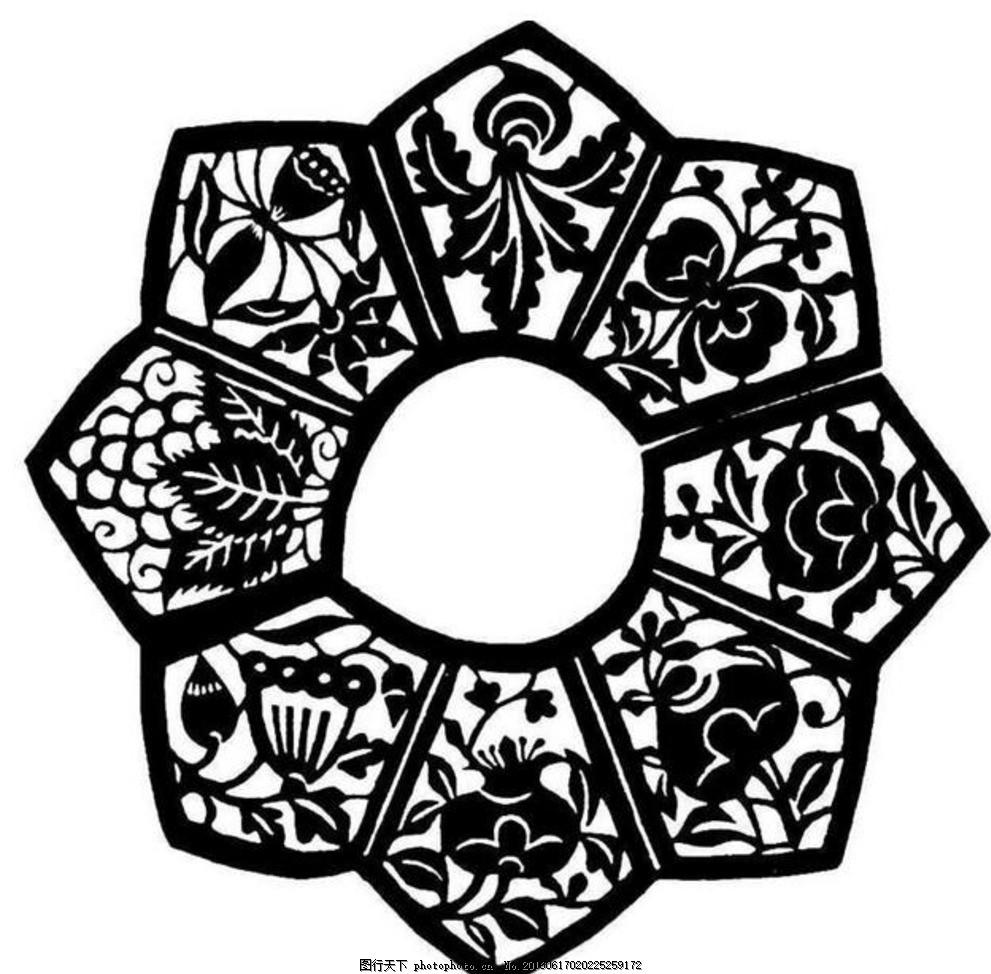 花形组合图案剪纸