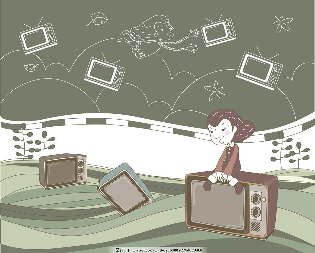 老式电视机 手绘电视 简约背景 线条 商场 零售 零售素材 设计 广告