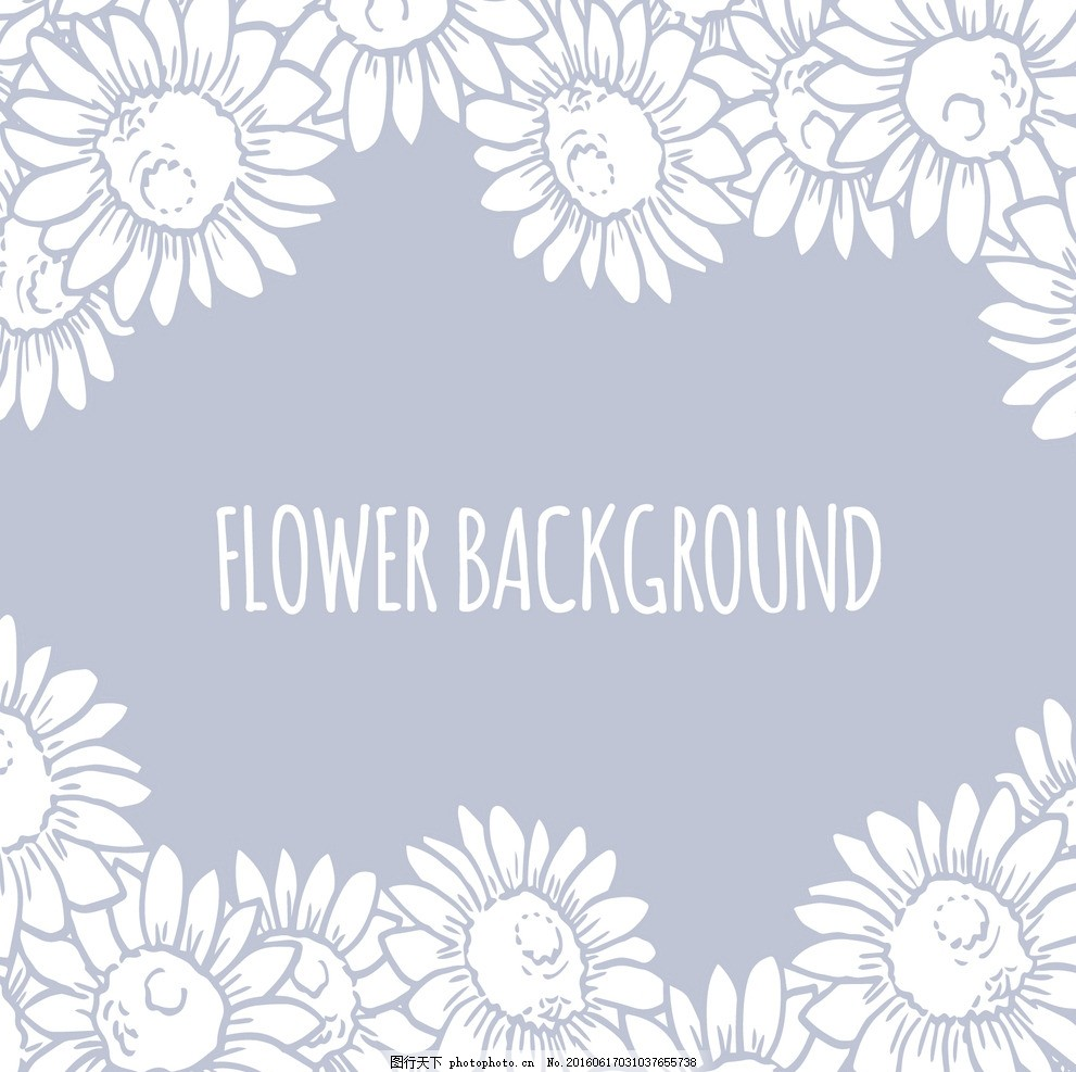 手绘向日葵背景 背景 花卉 手 自然 春天 画 植物 绘画 花 性质 开花
