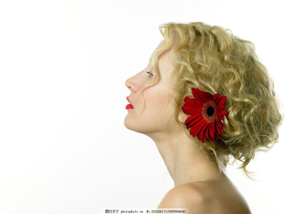 侧脸美女图片,侧脸美女图片素材 花朵 红花 女人花-图