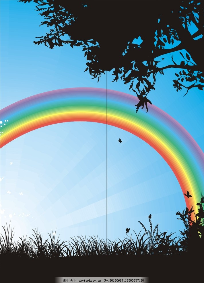 彩虹 彩虹桥 雨后 背景 玻璃门 移门 广告设计 移门图案