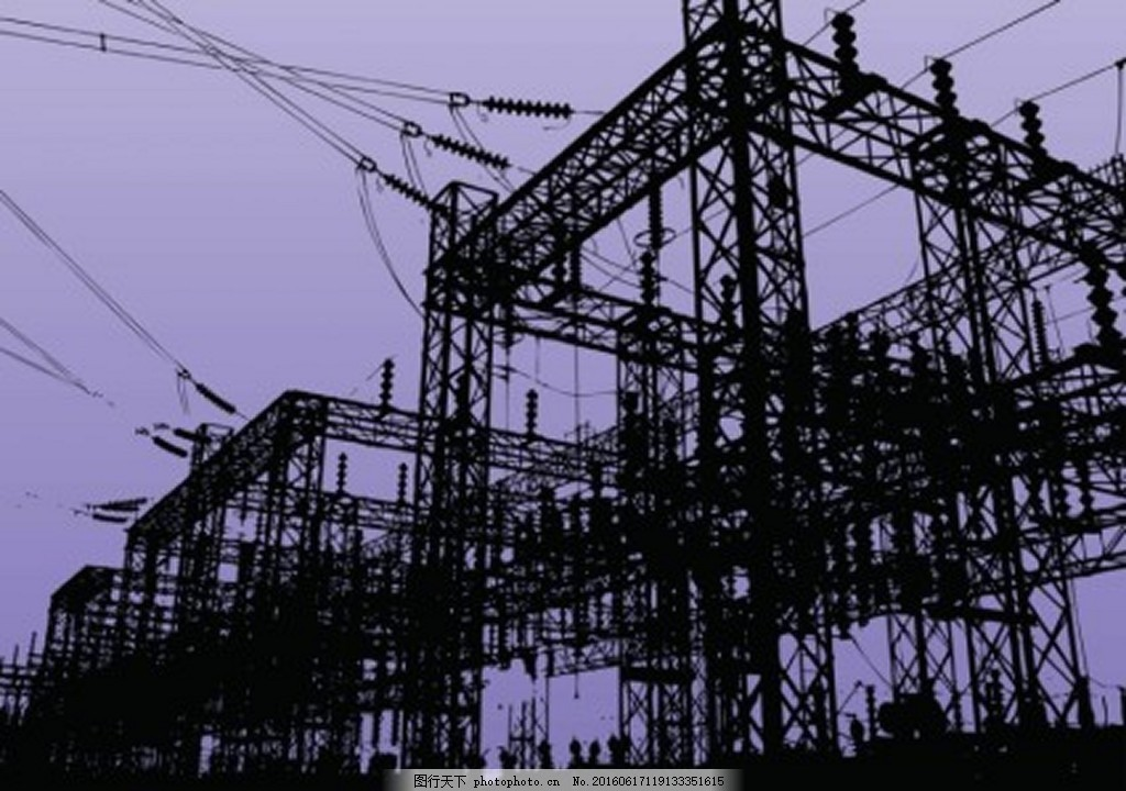 电工厂 电力 电线 电线杆 高压线 ai