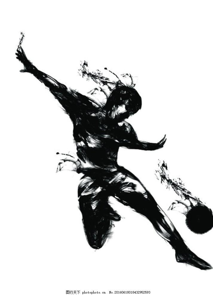 意水墨踢足球 水墨 足球 踢足球 水墨踢足球 设计 动漫动画 风景漫画