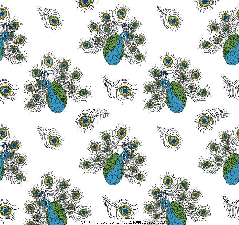 彩绘孔雀无缝背景矢量素材 鸟 无缝背景 孔雀 孔雀翎 动物 矢量图
