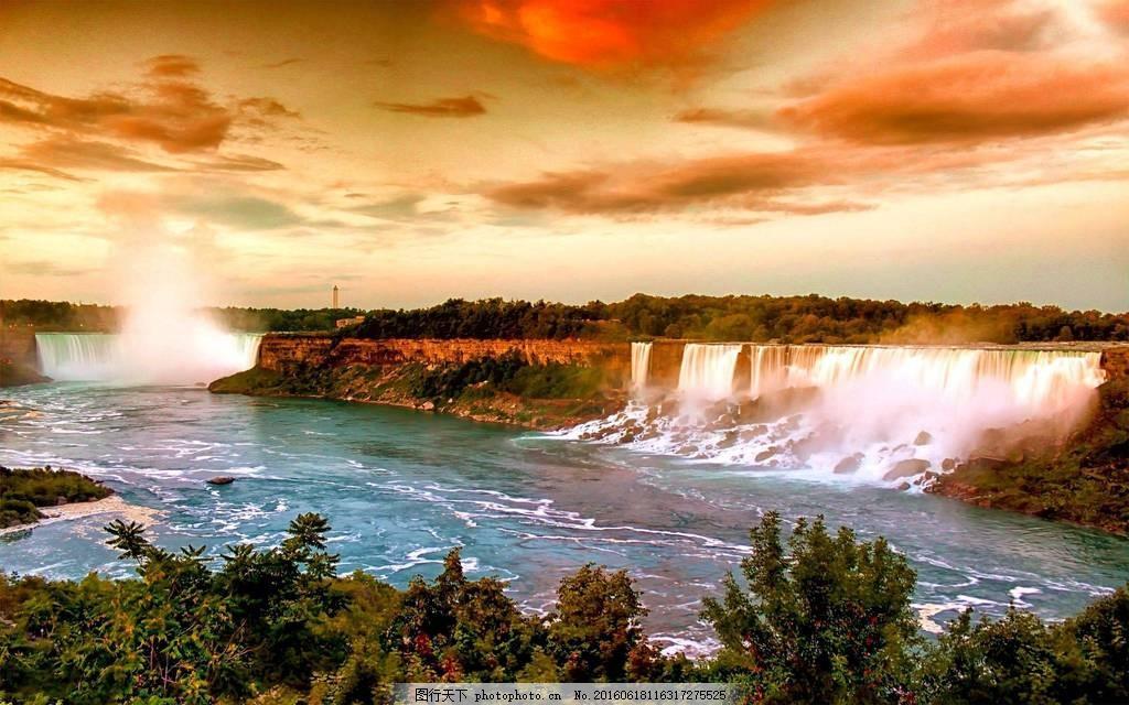 高清瀑布风景图片素材下载 加拿大 天空 云彩 云朵 水流