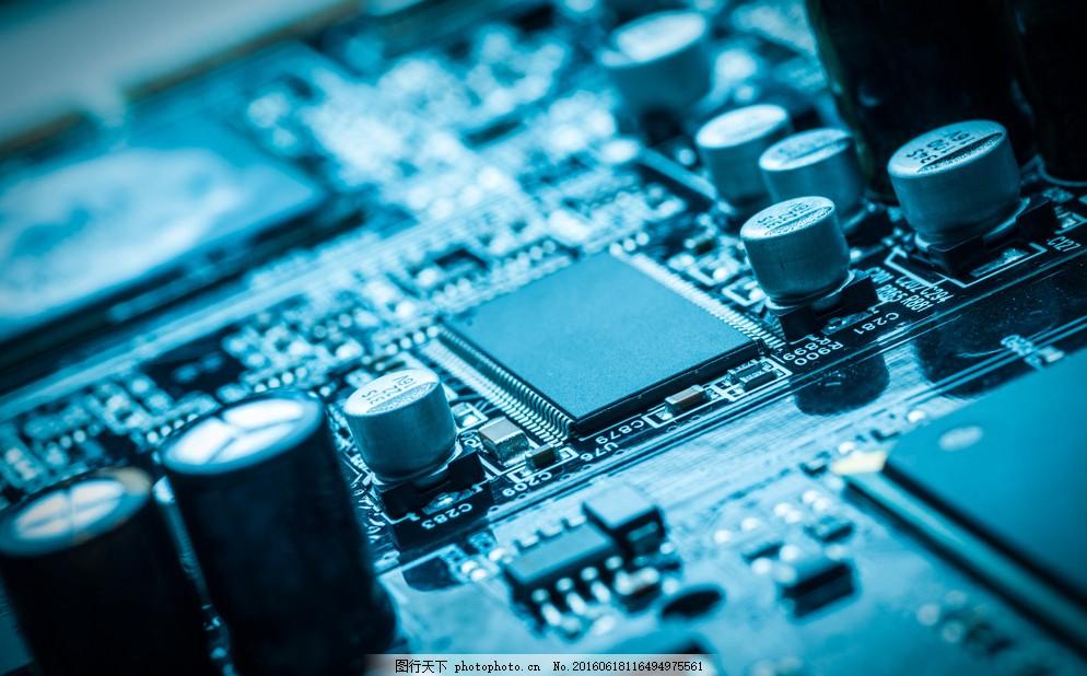 芯片 科技 电脑主板 电容 电子元件 主机板 工业 工业生产 现代科技