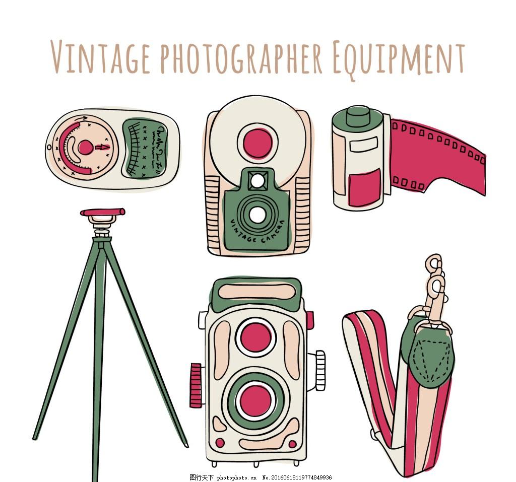 手绘摄影器材 手绘摄影 摄影器材 摄影 三角架 相机 胶卷