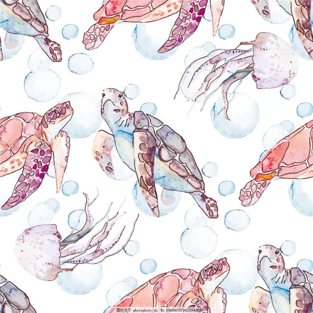 水彩海龟插画背景 水彩画 乌龟插画 动物插画 海洋生物 卡通动物