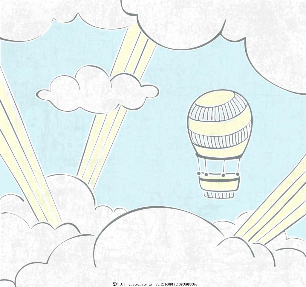 气球手绘云背景