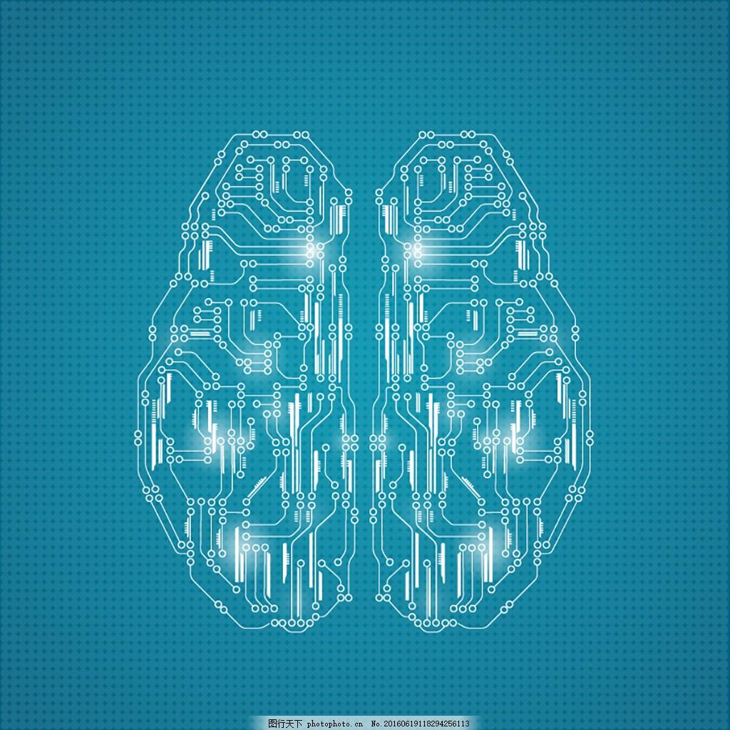 光效 广告背景 背景素材 医学背景 科技 矢量背景 蓝色背景 大脑 电路