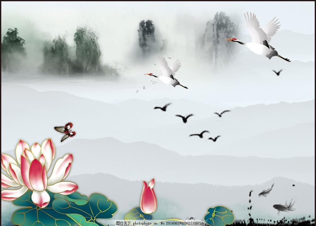 白鹤荷花壁纸1440x900