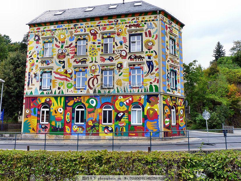 彩色图案的房子