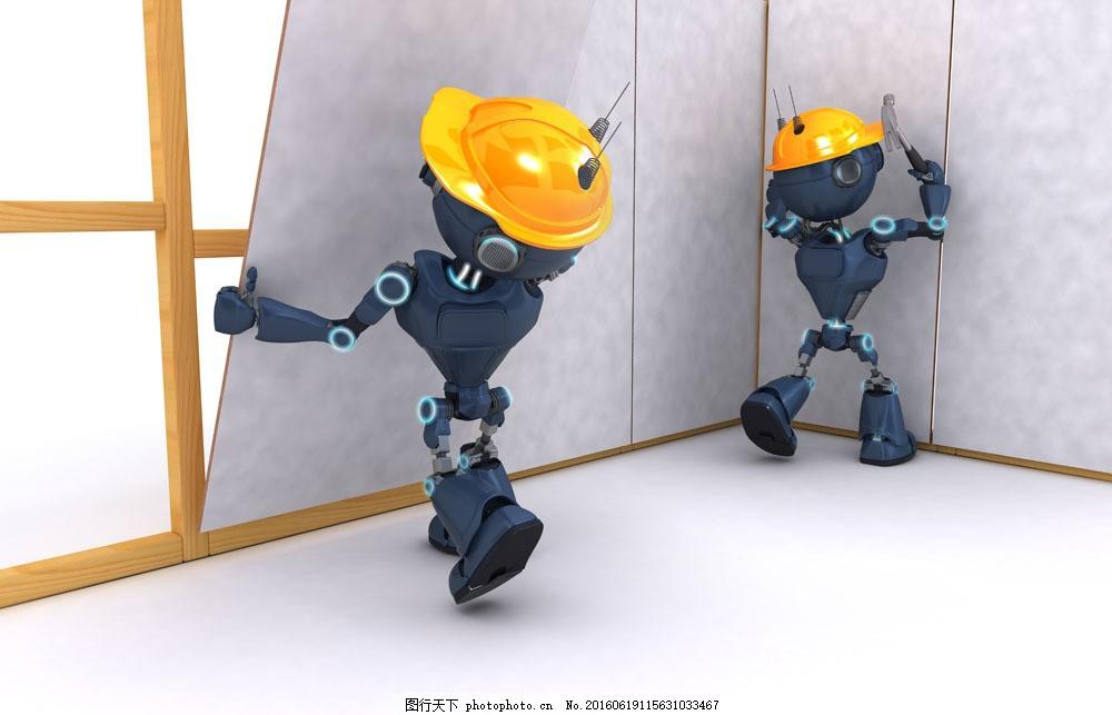 安装板子的立体机器人图片素材 安装 板子 立体 机器人 3d 安全帽
