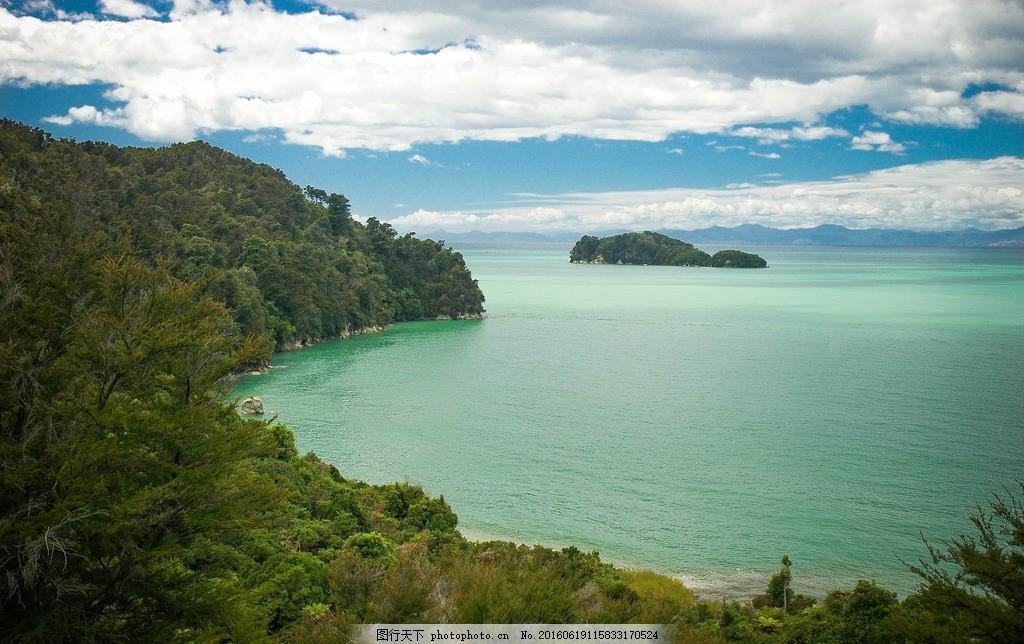 大海 海平面 天空 森林 云朵 树木 素材天下 摄影 自然景观