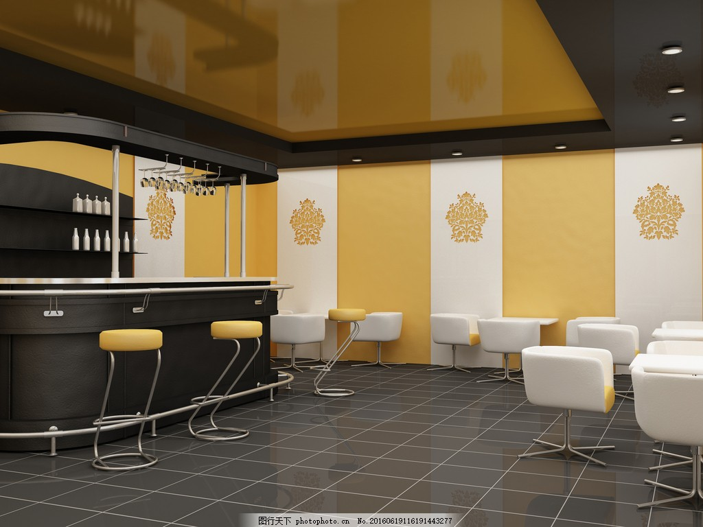 吧台装修效果 饭馆 咖啡厅 咖啡馆 椅子 桌子 桌椅