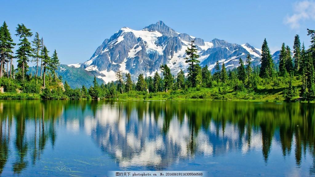 山水风景 山水风景高清图片下载 树雪 倒影