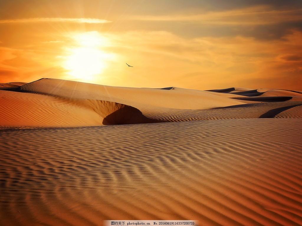 唯美沙漠夕阳风景图片素材下载 沙漠 荒漠 沙丘 沙堆 细沙