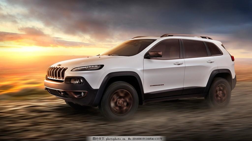 白色jeep指南者壁纸图片素材下载 汽车 夕阳 奔跑 轿车 越野车