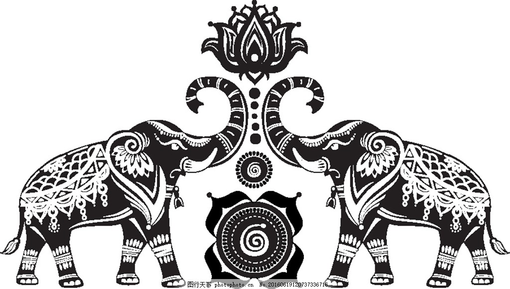 莲花与大象插画 莲花 荷花 大象插画 动物图腾 印度花纹 花卉图案