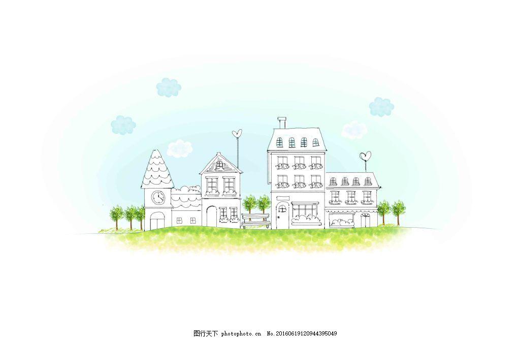 创意城市线描手绘图案 书本 花朵 建筑 学校 卡通 幼儿园 教育图片