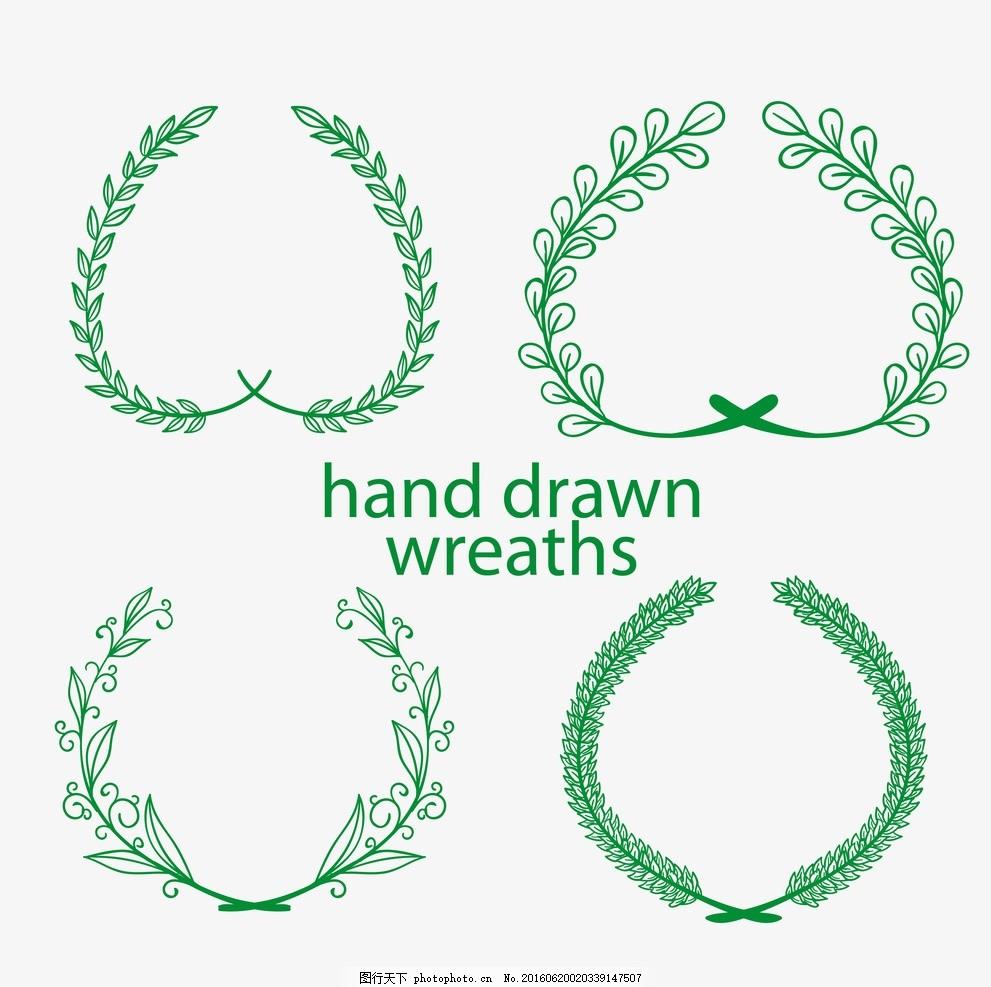 花圈 绿色 绿叶 手绘 树叶 制图 装饰 自然 矢量趣多多 设计 底纹边框