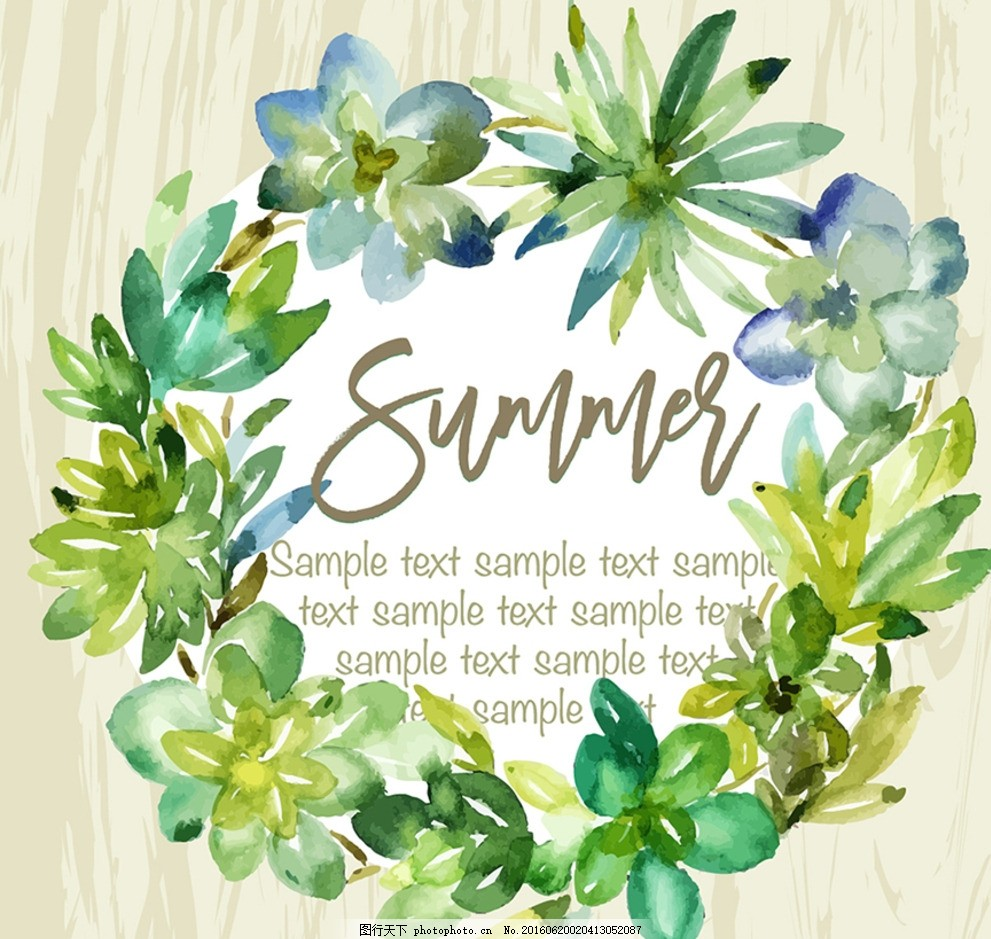 矢量手绘水彩植物花卉花环