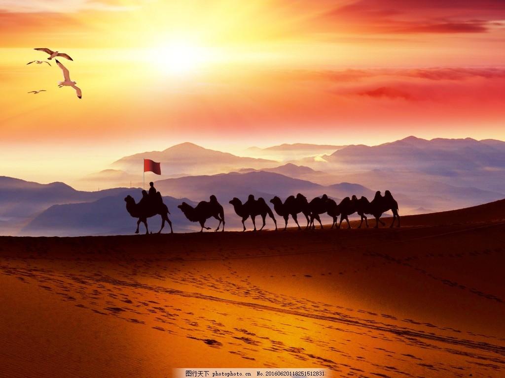 沙漠背景 沙漠 风景 骆驼 太阳 晚霞 黄昏 psd 黄色