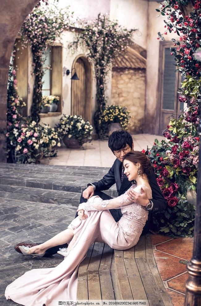 韩式婚纱摄影 枫叶 路灯 欧式 中式 双人 结婚照 人物摄影