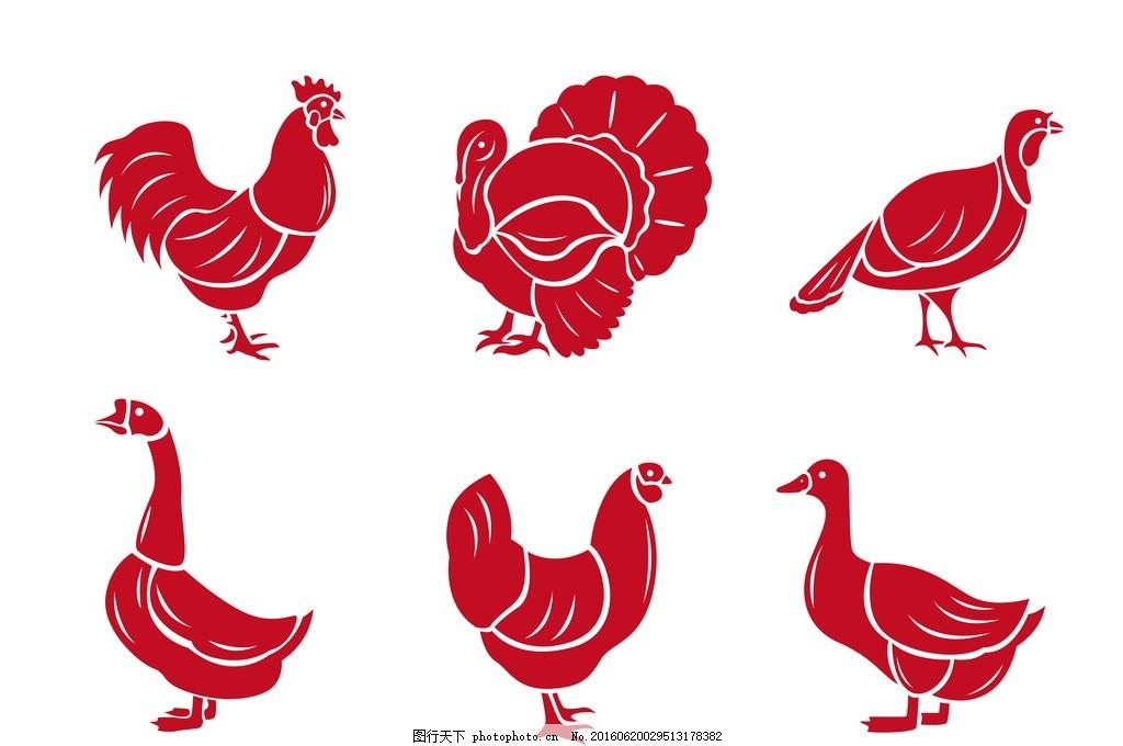 彩绘公鸡 鸭子 鹅 手绘公鸡 鸡头 可爱公鸡 彩色公鸡 功夫鸡 鸡鸣