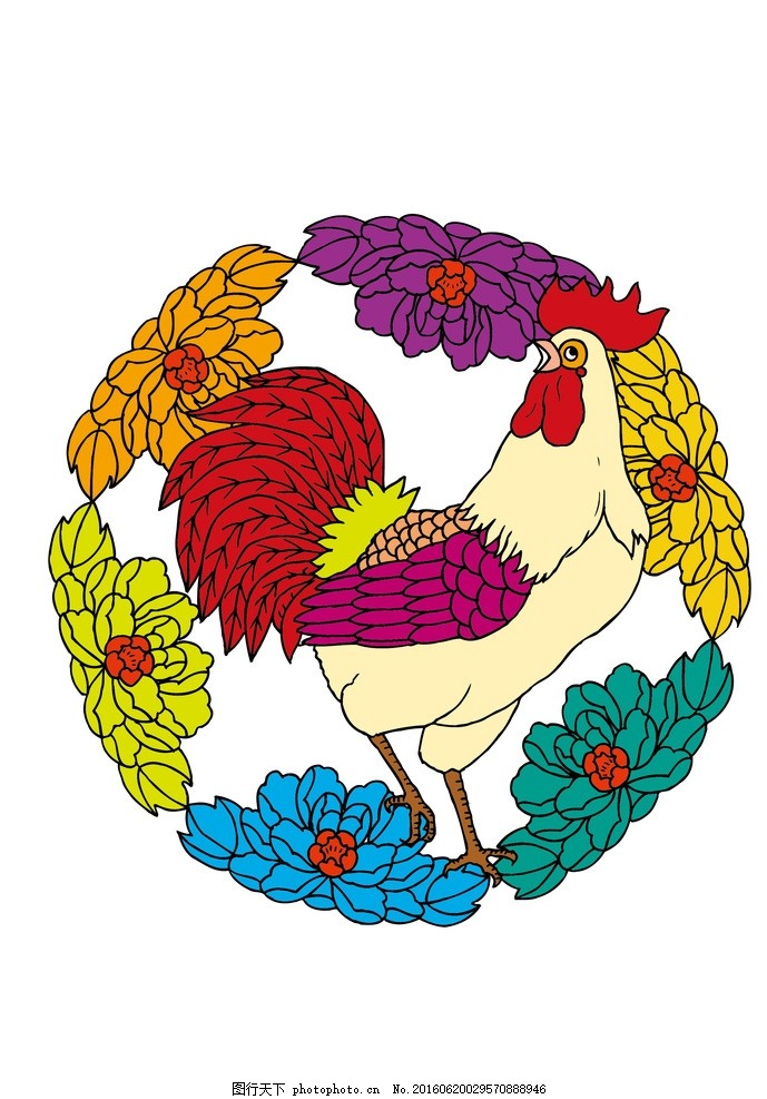手绘公鸡 撑腰鸡 可爱公鸡 彩色公鸡 功夫鸡 鸡鸣 插画小鸡 十二生肖