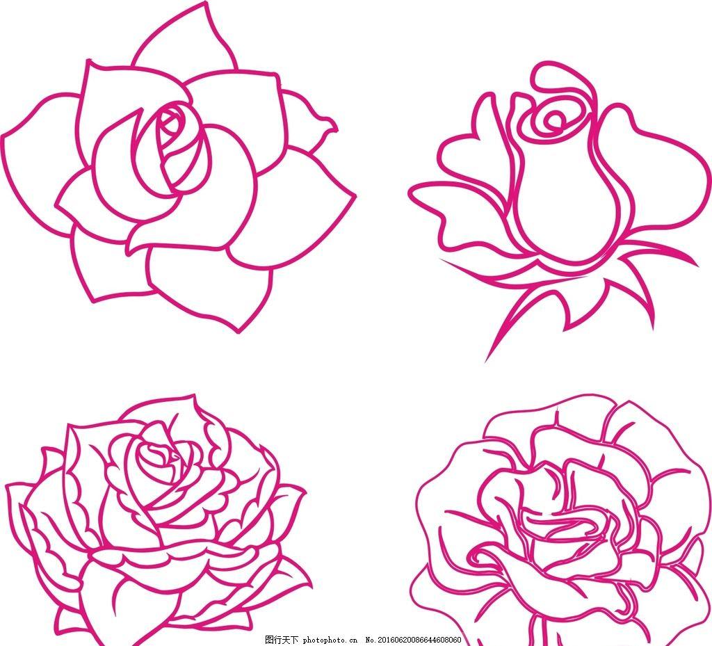 线条玫瑰花 黑白玫瑰花 玫瑰花 线条 玫瑰花卉 手绘玫瑰 古典 时尚