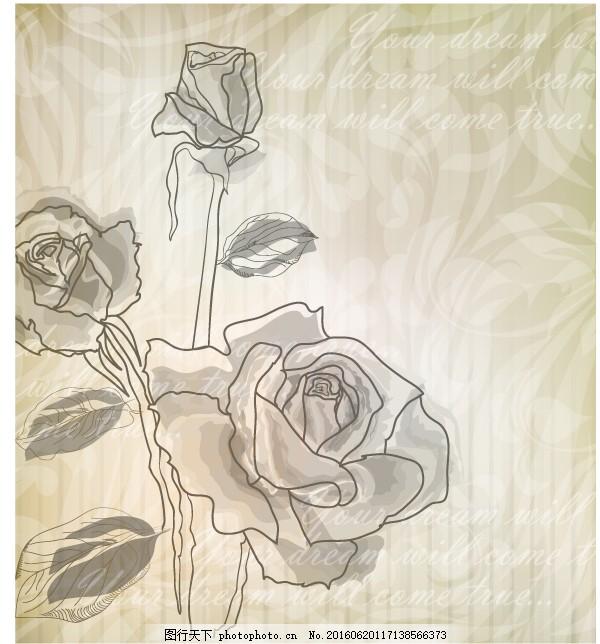 简约手绘玫瑰花图片