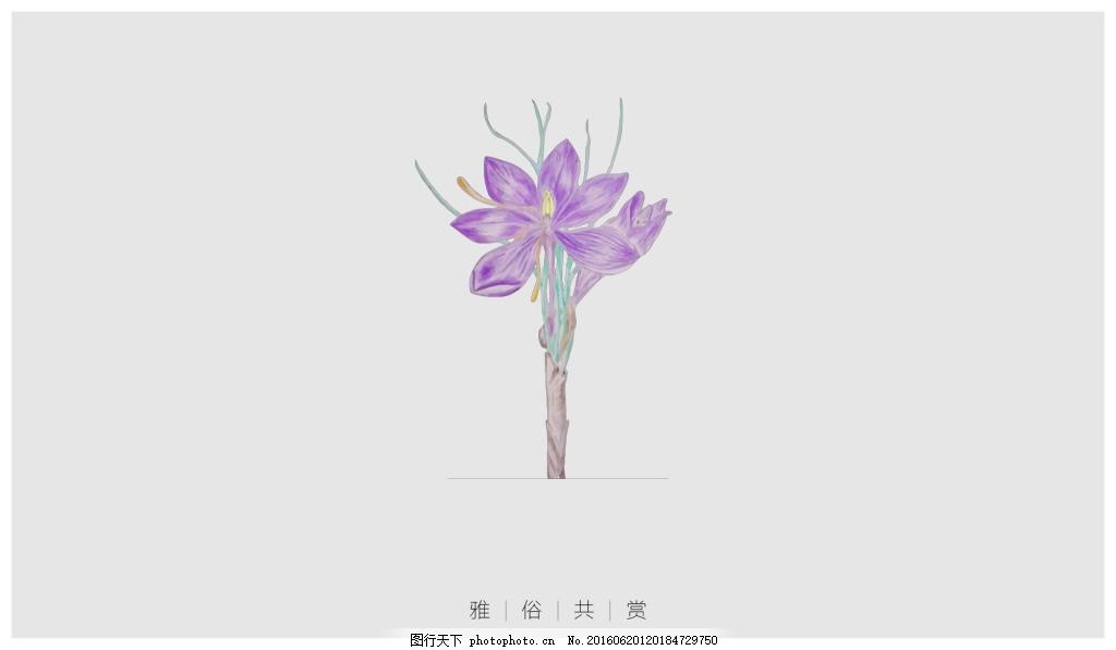 矢量手绘花朵 手绘花 矢量花 紫色花朵 中国风