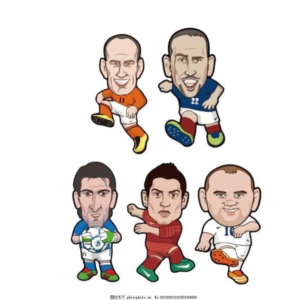 欧洲杯 足球明星 q版 卡通 c罗 布冯 鲁尼 罗本 设计 动漫动画 动漫